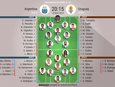 Argentina v Uruguay, international friendly, 18/11/2019 - Official line-ups. BESOCCER