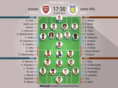 Arsenal v Aston Villa. Premier League 2019/20. Matchday 6, 22/09/2019-official line.ups. BESOCCER