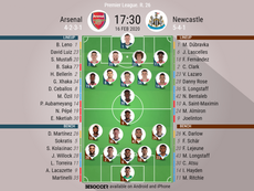 Arsenal v Newcastle, Premier League 2019/20, 16/2/2020, matchday 26 - Official line-ups. BESOCCER