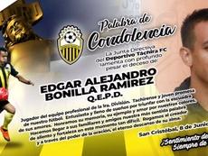 Deportivo Táchira llora la muerte de Edgar Bonilla. Twitter/DvoTachira