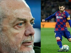 Messi, en Nápoles. AFP