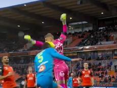 Un gol muy curioso en Francia. Captura/BeINSports