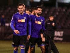 Benja terminó ante el Espanyol B con molestias en los isquiotibiales. Twitter/cfhercules