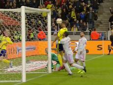 Les deux sublimes parades de De Gea n'ont pu empêcher le 1-0. Capture/RTVE1
