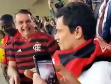 Bolsonaro acudió a ver la Flamengo ante CSA. Captura/Enmascaradocab