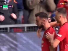 Bruno Fernandes marca seu primeiro gol com a camisa do United. Captura/SportTV2