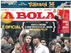Capa do jornal 'A Bola' de 27-06-2019. A Bola