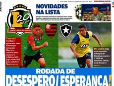Capa do jornal 'Lance - Rio de Janeiro' de 22-09-18. Lance - Rio de Janeiro