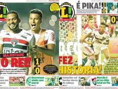 Capas das edições do jornal Lance! de São Paulo e do Rio de Janeiro 14/10/2019. Lance!