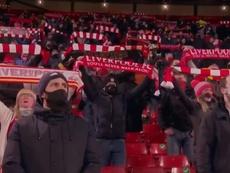 Fans were back at Anfield. Screenshot/DAZN
