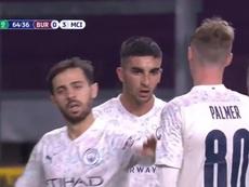 Ferran Torres marcó su primer gol con el Manchester City. Captura/DAZN