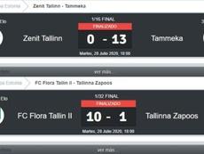 La Copa de la locura en Estonia: 0-13, 10-1, 9-0 y 8-0. BeSoccer
