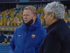 Koeman le dijo a Lucescu el tiempo de baja de Piqué. Captura/MovistarLigadeCampeones