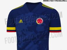 Esta sería la nueva camiseta de Colombia para 2020 y 2021. Captura/FootyHeadlines