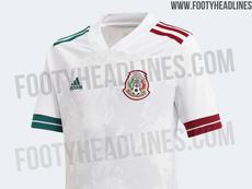 Filtran la posible camiseta de visitante de México. Captura/FootyHeadlines