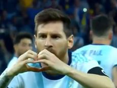 Belle célébration de Messi. Capture/DAZN