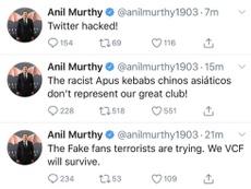 Hackearon la cuenta el presidente del Valencia. AnilMurthy