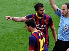 Mateu Lahoz anuló un gol a Messi que dio la liga de 2014 al Atleti. AFP/Archivo