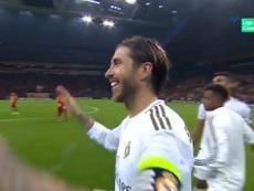 Ramos celebró el triunfo a lo grande. Captura/Movistar