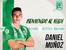 Daniel Muñoz ya es del 'verde'. AtleticoNacional