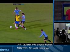 La CONMEBOL publicó el audio del VAR de la expulsión a Cavani. Captura/CONMEBOL