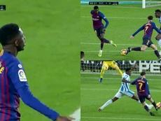 Dembélé dejó un gran gesto técnico, pero Coutinho falló. Captura/Movistar+