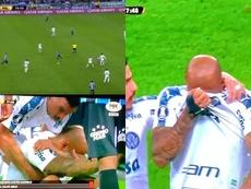 Felipe Melo, abattu, a fondu en larmes après avoir laissé les siens à dix contre onze. Capture/FOX
