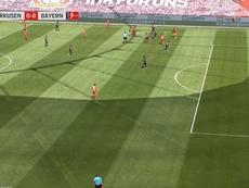 Leverkusen surprend le Bayern après 9 minutes de jeu. Capture/MovistarLigadeCampeones