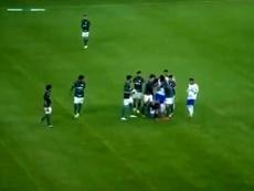 La última de Felipe Melo: gol en el 87' y vacile antes de sacar a pasear al león. Captura/SporTV