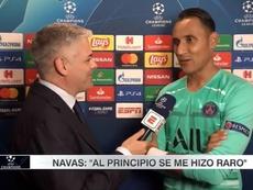 Keylor Navas habló tras el triunfo del PSG al Madrid. Captura/Movistar+