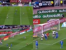 Martínez Quarta hizo de Beckenbauer en el primer gol de River. Captura/TNTSports