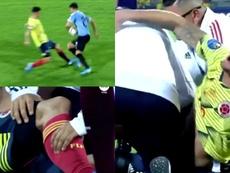 Benedetti cayó lesionado en el Preolímpico. Captura/Televivo