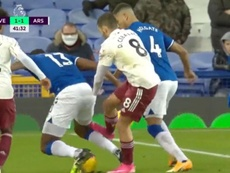 Ceballos could have been sent off for a foul on Mina. Screenshot/DAZN