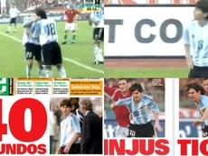 Otro aniversario del debut para olvidar que tuvo Messi con Argentina. Twitter/JuanBindi/Olé