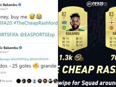 Bueno, bonito y barato: Bakambu se comparó con Rashford en FIFA 20. Twitter/Bakambu17