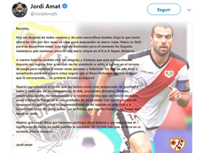 Amat publicó una emotiva carta. Twitter/JordiAmat