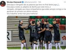 Finalmente, el Benfica se llevó los tres puntos. Twitter/NicolasOtamendi