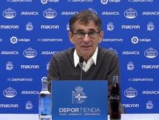 Fernando Vázquez, contento por el apoyo de la afición. RCDeportivo