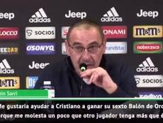 Sarri defendió ante los medios a Cristiano. Captura/ESPN