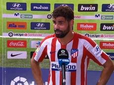 Diego Costa atendió a los medios tras el Atleti-Betis. EFE/J.J. Guillén