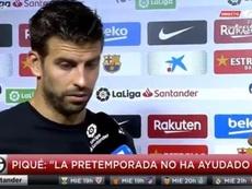 Piqué em entrevista após o jogo contra o Villarreal. Captura/GolTV