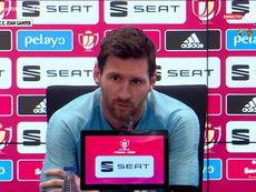 Messi considerou lamentável a imagem que a equipa mostrou em Anfield. Captura/GolTV