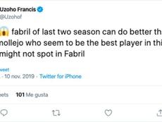Francis Uzoho también estalló contra el Deportivo. Twitter/Uzohof