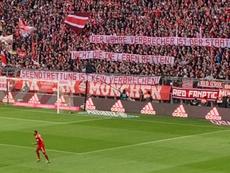Pancarta reivindicativa en el Allianz Arena. Captura/JulienWolff