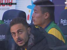 Wu Lei n'était pas titulaire contre le Barça. AFP