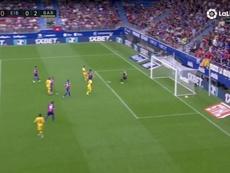 Messi marque après une bonne combinaison de la MSG. Captura/Movistar