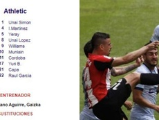 The referee missed out an Athletic Bilbao player from his match report. Captura/EFE