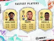 Los diez jugadores más rápidos de FIFA 21. Captura/EASports