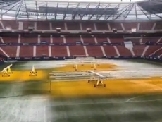 This was the state of the El Sadar pitch on Saturday morning. Screenshot/MovistarFutbol