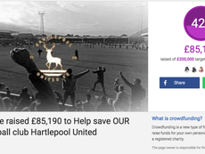 Captura del Crowdfunding abierto por el Hartlepool United para salvar al equipo.